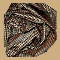 4 Pieces  antique silk tafetta Civil War plaid fabric small checks dolls women #3