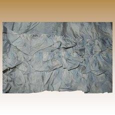 Antique pale blue white silk fabric 2 ruffles Ca 1865