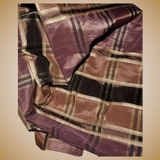 Antique silk plaid fabric Ca 1865 dolls women restoration #1