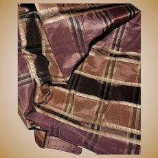 Antique silk plaid fabric Ca 1865 dolls women restoration #2