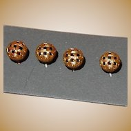 4 Antique small twinkle mirror back buttons dolls women restoration