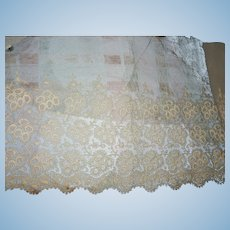 Antique embroidered net lace nice length dolls women restoration heirloom #1