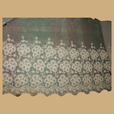 Antique embroidered net lace nice length dolls women restoration heirloom #3