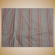 "Antique cotton red striped fabric 29"" selvages roller print dolls 2 yards FREE SHIPPING."