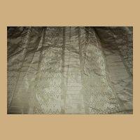 Antique Ca 1850 stunning silk fabric and original white glazed lining dolls women restoration heirloom #1