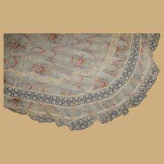 Antique rose bouquets on leno texture cotton lace bedecked dolls sweep