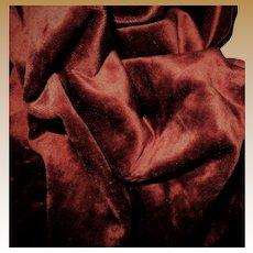 Antique cotton backed silk napped velvet true red 1800s women restoration doll quilts
