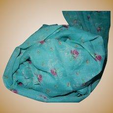 Vintage turquoise voile cotton roses dolls women unused