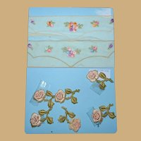 Victorian silk roses applique and vintage embroidered small for dolls