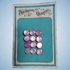 Vintage delightful pink rimmed small glass buttons on card dolls women child