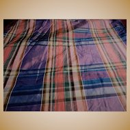 Antique Civil War iridescent blue silk plaid dolls #2