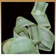 Antique Ca 1870 silk ribbon sheer deep mint dolls BTY