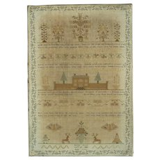 Georgian Sampler Martha Watts 1808 Stone School Silk Linen Needlework Antique