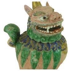 Japanese Kutani Porcelain Incense or Burner Koro Kirin Qilin Lion Dog Meiji Antique