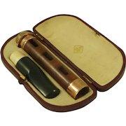 Briar Enclosed Cigar Cigarette Holder Case Solid Gold BBB Louis Blumfeld Pipe Antique