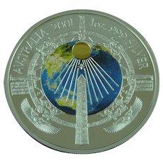 Silver One Dollar $1 Coin Millennium 2001 Australia Enamelled Proof 1oz Sterlng