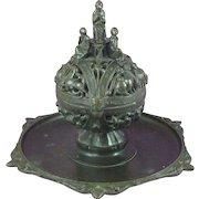 Victorian Renaissance Gothic Revival Bronze Inkwell Censer Latin Incense Antique