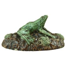 Rare Palissy Style Majolica Frog Portuguese Unmarked Pottery Cunha Mafra Antique