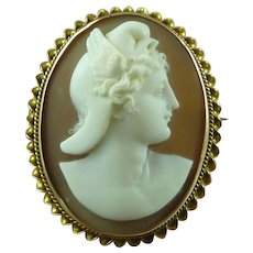 Victorian Carved Shell Cameo Perseus 14k Solid Gold Frame Italian Antique