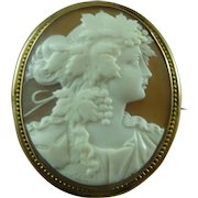 Roman Lady Bacchante Cameo Brooch Pin 14 Carat Gold Carved Shell Vines Antique