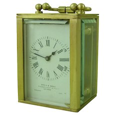 Miniature French Brass Carriage Clock 8 Day Drew & Sons London
