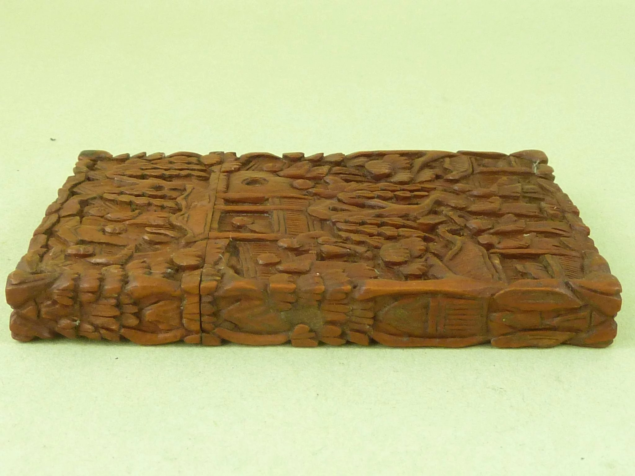 Antique Visiting Card Case Chinese Carved Sandalwood Cantonese ...