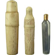 French Dieppe Carved Bone Case Gold Cut Glass Perfume Scent Bottle Flask Antique