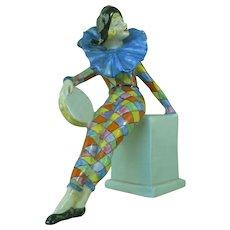 Vintage Rare Wade Figure Anita Pierette Cold Painted Original Figurine Art Deco Harlequin