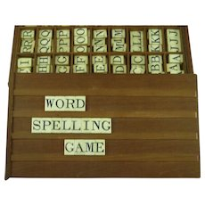 Antique Spelling Alphabet Educational Game Box Engraved Stained Bone Letters Tablets