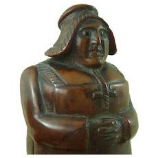 Antique Carved Coquilla Nut Figural Treen Snuff Box French Revolution Woman Antique