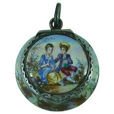 Antique Vienna Silver Gilt Enamel Miniature Vinaigrette Pendant Locket Hallmarked