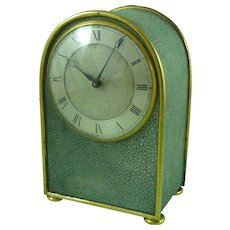 Plain Smart English Art Deco Shagreen & Ormolu Clock Gilt Brass 8 Day