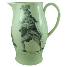 Large Printed Creamware Pottery Jug Pitcher Antique Shakespeare Garrick
