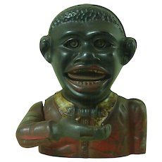 Little Joe Jolly Bank English Cast Iron Mechanical Painted Black Americana Antique