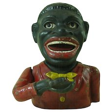 Vintage Jolly Bank English Cast Iron Mechanical Painted Black Americana Antique