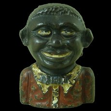 Vintage Young Jolly Bank English Cast Iron Still Painted Figure Bust Antique Black Americana