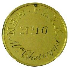 Georgian New Park Pass Token Admission Medalion No16 Mrs Chetnynd Richmond Park Royal Hunting Ground