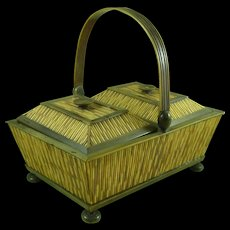 Antique Porcupine Quill & Horn Anglo Indian Swing Handle Sandalwood Basket Box