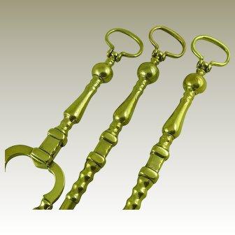 Set Three Antique Brass Fire Tools Door Knocker Ring Handle Irons