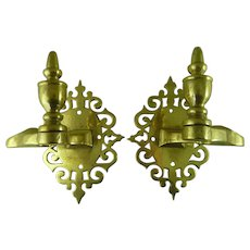 Pair Antique Brass Jamb Hooks Fire Tool Holders Hearth Mantel Pierced Back-Plates