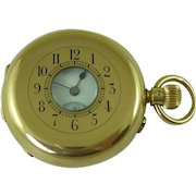 Victorian 18K Gold Swiss Half Hunter Pocket Watch London 1885 Antique
