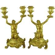 Pair Antique Ormolu Candelabra Neptune Sea Gods Merman French Gold Gilt Bronze