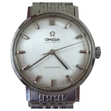 Omega Seamaster Automatic Textured Silk Dial Stainless Steel Rice Bead Bracelet Watch Boxed Vintage