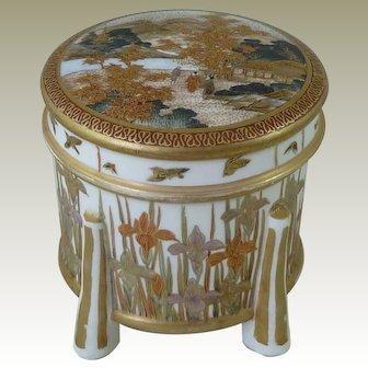 Japanese Satsuma Lidded Box Meiji Period By Kinkozan Pottery Miniature Iris Signed Antique