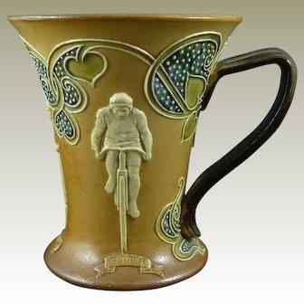 Rare Doulton Lambeth Stoneware Cycling Mug Art Nouveau 1910 Royal Flared Jug