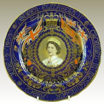 Rare Aynsley Commemorative Plate 1953 Coronation Queen Elizabeth II Crowned Westminster Abbey