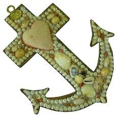 Sea Shell Sailors Valentine Anchor Pincushion Folk Art Love Token Faith Hope Victorian Shellwork Souvenir Christian Memento Mori