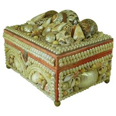 Sailors Sea Shell Valentine Ladies Sewing Jewelery Work Box Folk Art Antique Victorian Shellwork Souvenir