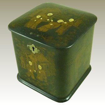 Chinoiserie Papier Mache Lacquer Tea Caddy European Painted Antique Chinese Taste Cube Victorian 19th Century Tin Foil Lined