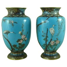 Japanese Meiji Period Cloisonne Vase Pair Turquoise Crane Egret Antique